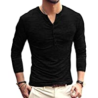PERDONTOO Men's Slim Fit Long Sleeve Henley T-Shirt Casual Basic Tee (Small, Black)