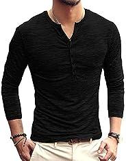 PERDONTOO Men's Slim Fit Long Sleeve Henley T-Shirt Casual Basic