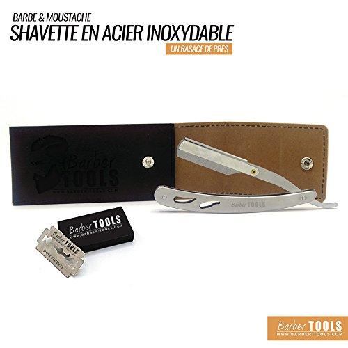 ✮ BARBER TOOLS ✮ Shavette en acier inoxydable de haute qualité. Avec 5 doubles lames et une sacoche de rangement.