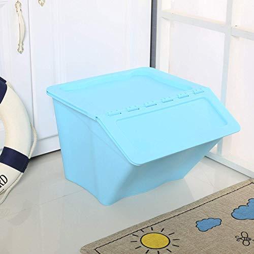 Llhh Stapelbare Kinderaufbewahrungsbox, Kunststoffaufbewahrungsbox, Spielzeugaufbewahrungsbox, Küchenaufbewahrungsbox-Nachttisch,Blue (Bins Stapelbar Spielzeug)