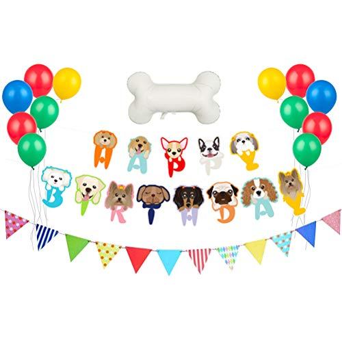 und Geburtstag Partydekorationen Latex Luftballons Hund Form Banner Wimpel Banner Hund Welpen Themen Geburtstag Party Dekorationen Liefert ()