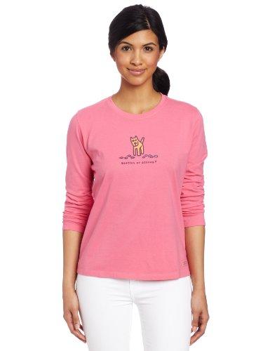 Life is Good Damen Käfer oder Steine Crusher Tee Long Sleeve Medium hot pink