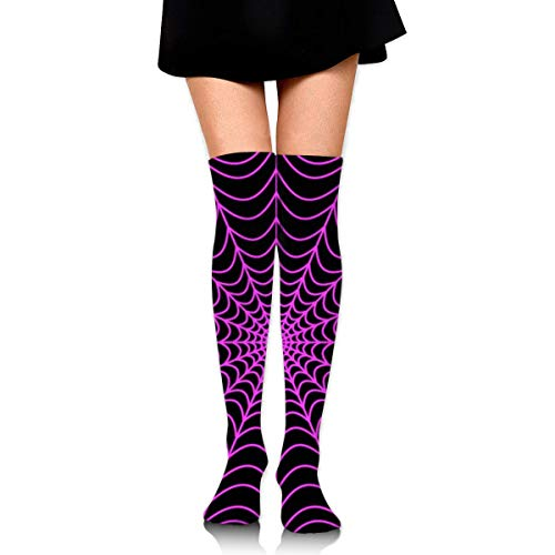 HiExotic Strümpfe Breathable Over Knee High Casual Halloween Spider Web Exotic Psychedelic Print Compression High Tube Thigh Boot Stockings Knee High Women Girl (Web-material Halloween Spider Für)