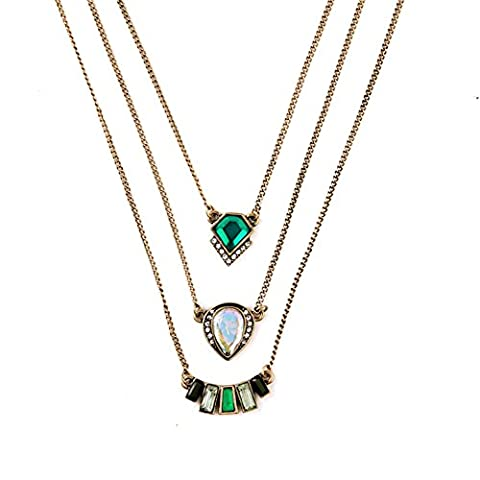 LARESDOMI Vintage Gold-tone Crystal Incrusted Simulated Emerald and White Opal Inlay Classic Three-layered Art Deco Pendant Necklace