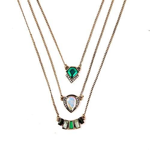 LARESDOMI Vintage goldfarben Kristall Verkrustet Simuliert Smaragd und Weiß Opal Inlay Classic dreilagige Art Deco Anhänger (Kostüme Box Alte Halloween)