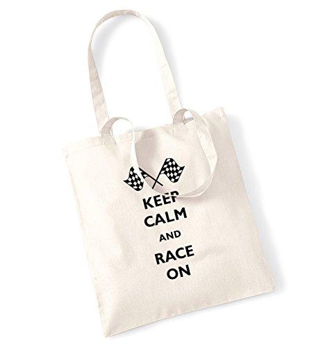 Keep calm and race-Borsa a tracolla natur