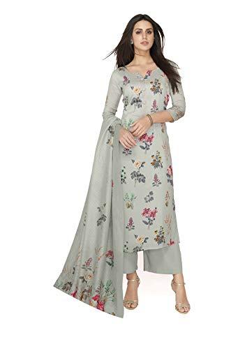 Oomph! Women\'s Unstitched Art Silk Salwar Suit Dupatta Material - Coin Grey