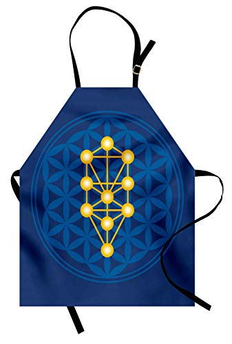 Grembiule egiziano, simbolo sopra il fiore della vita Grembiule cucina unisex antico con stampa del modello di rapporto segreto astratto antico, Collo regolabile per cucinare Cottura di giardinaggio,