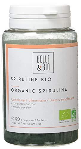 Belle&Bio - Spiruline Bio - 120 Comprimés - 2000 mg/Jour - Anti-Fatigue - Certifié Bio par Ecocert - Fabriqué en France