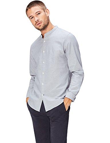 FIND Herren Schmal Geschnittenes Hemd mit Grandad-Kragen, Grau (Khaki), Large (Grandad-kragen-shirt)