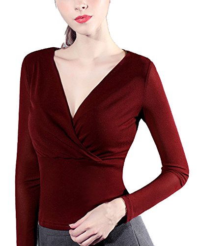 Bmeigo Donna Basic Shirt Mesh V-collo Slim manica lungas cime -K16 Wine