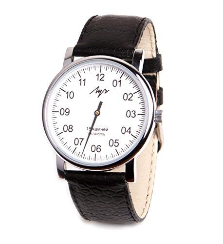 One Hand Mittagessen Mechanische Armbanduhr Herren Leder Vintage Weiß 77471760RUS