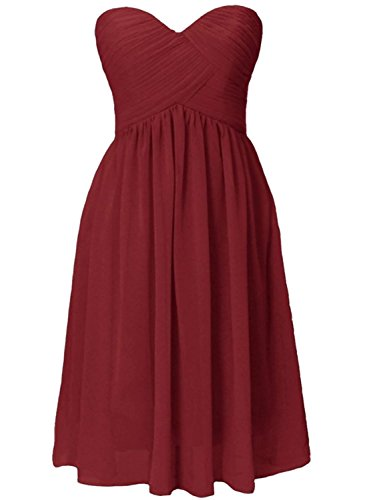 Azbro Women's Simple Bandeau Ruffled Design Bridesmaid Dress Watermelon Red