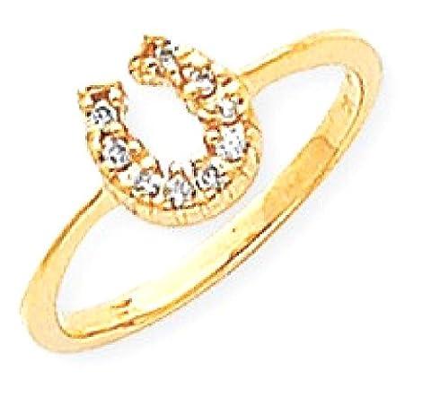 IceCarats 14k Yellow Gold Polished Diamond Horseshoe