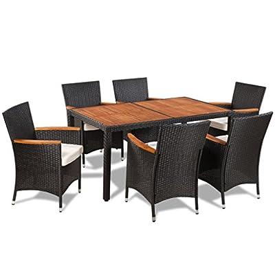 vidaXL Gartenmöbel 13-tlg. Essgruppe Sitzgruppe Sitzgarnitur Poly Rattan Akazie von vidaXL - Gartenmöbel von Du und Dein Garten