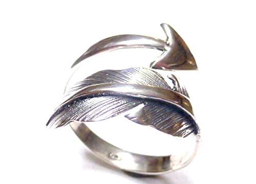 Silberschmuck-BG Anillo de Banda Abierto, diseño de Pluma de Lago - Punta de Flecha, de Plata de Ley 925, Anillo, Joyas, Regalo, Mujer y Hombre, Amuleto de la Suerte, símbolo de protección