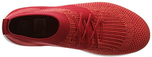 FitFlop Uberknit Slip-On High Top Sneaker, Baskets Hautes Femme, Noir, Taille Unique Red (Classic Red)