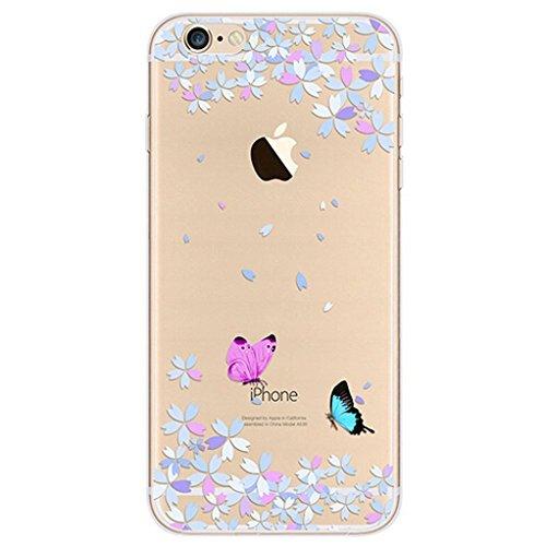 Cover iPhone 6 Plus/6s Plus [Pellicola Protettiva in Vetro Temperato], Bestsky Cute Cartone Animato Colorato Fiore Pattern Trasparente Gel Silicone Bumper Case Custodia Per iPhone 6 Plus/6s Plus, Saku #04
