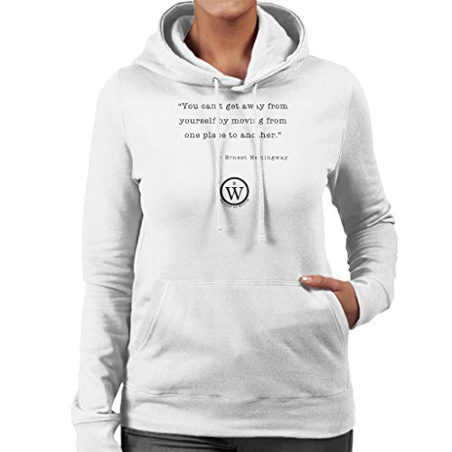 Writers On Wisdom Ernest Hemingway Quote From One Place To Another Women's Hooded Sweatshirt White