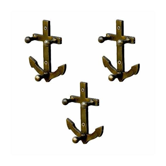 Casa Decor Set of 3 Nautical Anchor Wall Hooks Hanging Clothes Hat Coat Robe Hangers Metal Single Hook Door Hook Wall Mounted Single Hook Hanger