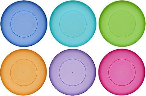 idea-station NEO Kunststoff-Teller 21.5 cm, 6 Stück, farbig, bunt, rund, stapelbar, perfekt für als als Kuchen-Teller, Snack-Teller einsetzbar, perfekt für Vorspeisen Hauptspeisen Nachspeisen geeignet