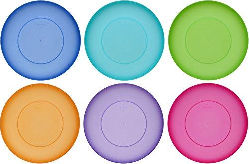 farbige teller idea-station NEO Kunststoff-Teller 21.5 cm, 6 Stück, farbig, bunt, rund, stapelbar, perfekt für als als Kuchen-Teller, Snack-Teller einsetzbar, perfekt für Vorspeisen Hauptspeisen Nachspeisen geeignet