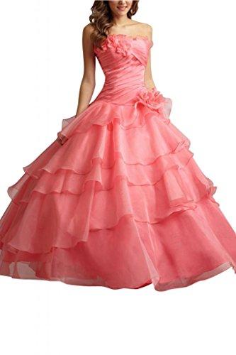 Toscane mariée pages traegerlos abendkleider en organza-motif ballon promkleider party Rouge - Wassermelonerot