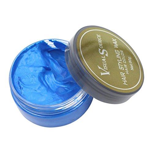 Tefamore Temporäre Haare Wachs Grandma Hair Ash Dye Gray Schlamm,Duftende Keine Stimulation Einfaches Waschen Hair Color Cream, 80g (Blau)