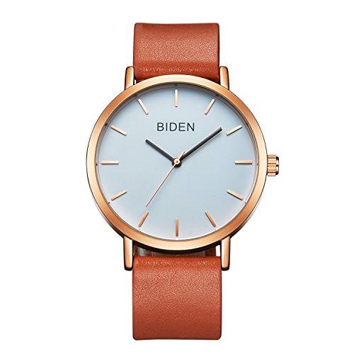 Uhr, Herrenuhr, Damenuhr, wasserdicht einfach lässig Analog Quarz Lederband Kleid Armbanduhr (braun) (Leder Braun Lässig)