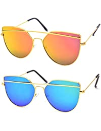 Silver Kartz Combo of 2 Mirrored Exclusive Double-Bar Aviator Unisex Sunglasses(Wy145-146|55|Blue, Gold)