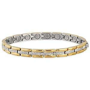 SABONA of London Magnetschmuck, Damen-Magnetarmband Lady Regal Duett aus allergenfreiem Edelstahl mit 18 Karat Goldplatinierung und mindestens 16 Samarium-Cobalt (SmCo) Magneten à 1200 Gauß