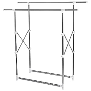 songmics adjustable height clothes hanging rail garment. Black Bedroom Furniture Sets. Home Design Ideas