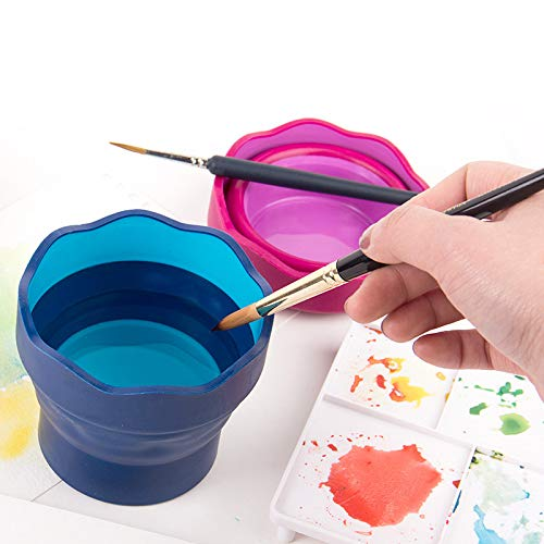 altbarer Eimer für Malerei Aquarellstifte aus Kunststoff mit Teleskopstiel Blau blau ()