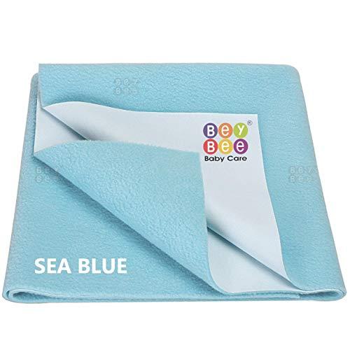 Bey Bee Premium Quick Dry Mattress Protector Baby Crib Bed Sheet - Medium (Sea Blue)