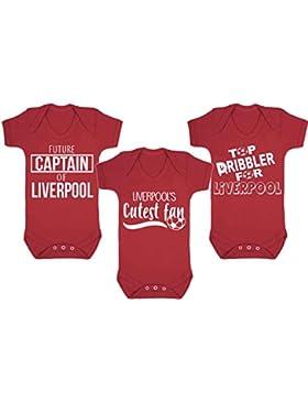 Set di 3Liverpool Football gilet bebè pagliaccetto fan del calcio Baby Football regali