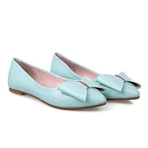AllhqFashion Femme Pu Cuir Couleur Unie Tire Pointu Non Talon Chaussures à Plat Bleu