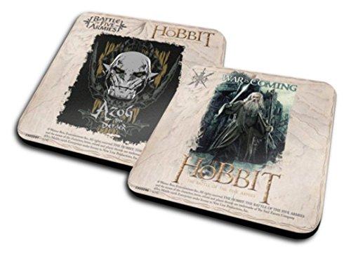 2er-Set Untersetzer: Der Hobbit - War is Coming, Gandalf + Battle of Five Armies, Azog (10x10 cm)