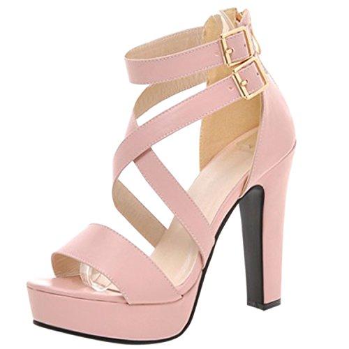 Oasap Women's Cross Strap High Heels Open Toe Platform Sandals Pink