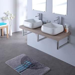 Console double vasques avec vasques quadra 120 cm gris lamelle