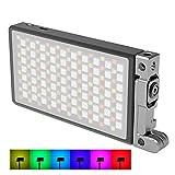 BOLING BL-P1 RGB-Luce video a LED per Videocamere,Ricaricabile,In Formato Tascabile,2500-8500 K,9 Simulazioni Di Scenari Comuni,Con Alloggiamento in Lega Di Alluminio