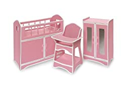 Badger Basket Folding Doll Furniture Set with Storage Crib, High Chair and Armoire