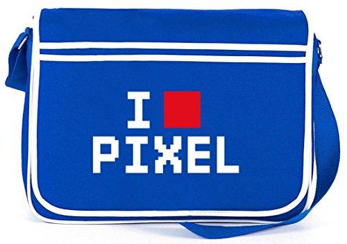 Shirtstreet24, I LOVE PIXEL 2, 8-Bit Retro Messenger Bag Kuriertasche Umhängetasche Royal Blau