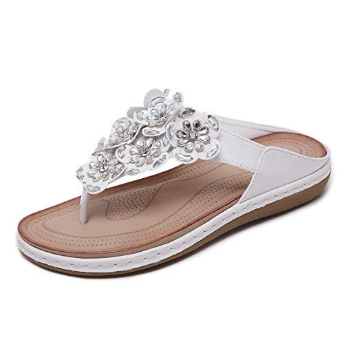 Pantofole Estate Donna Infradito Moda Sandali da Spiaggia con Fiore Perline Bianco,EU36=CN37