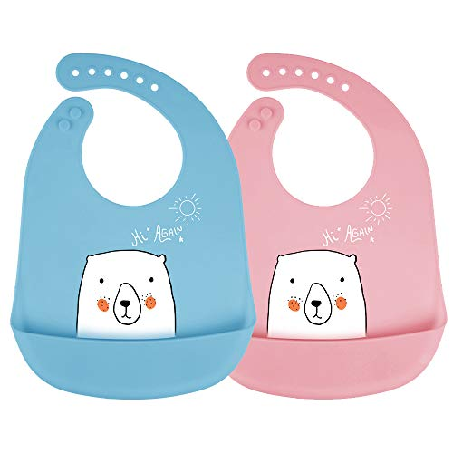 Babero de silicona mreechan, juego de 2 piezas de babero, con bolsillo de recogida lavable, silicona de seguridad, anti-alergia, lindo babero de oso blanco, adecuado para comidas de bebé