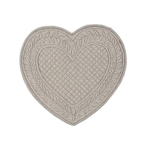 Blanc & mariclo' tovaglietta americana a forma di cuore trapuntato cm. 30x32 collezione carmer a2068799mg