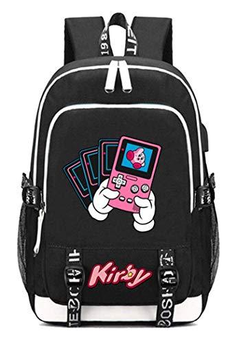 Kirby Spiel Backpack Schultasche Laptop-Rucksack mit USB-Ladeanschluss und Kopfhöreranschluss /2 (Color : Kirby 4, Size : -) (Rucksack Kirby)