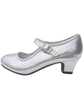 La Señorita Zapato Elsa Frozen Plata purpurina Flamenco Sevillanas de la princesa niña