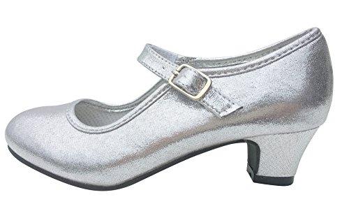 La Senorita Elsa Frozen scarpe Principessa scarpe argento ballerine con tacco (argento, Taglia 33 - 21,5 cm)