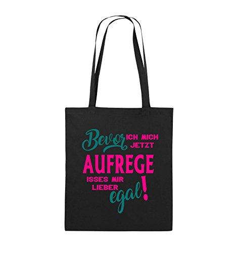 Comedy Bags - Bevor ich mich jetzt aufrege isses mir lieber egal! - Jutebeutel - lange Henkel - 38x42cm - Farbe: Schwarz / Weiss-Neongrün Schwarz / Pink-Türkis