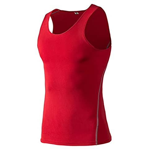 Men's Tank Shirt, ADiPROD Compression Muscle Tank Baselayer Sleeveless Cool Quick Dry Base Layer Top (Red, Large)